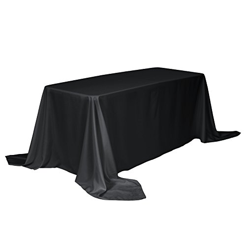VEEYOO Rectangular Tablecloth 100% Polyester Oblong Table Cloth for Bridal Shower - Solid Soft Oval Table Cover for Wedding Party Restaurant Party Buffet Table (Black, 90x132 inch)