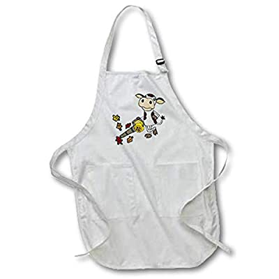 3dRose All Smiles Art - Funny - Cute Funny Unique Cow Using Leaf Blower Cartoon - Aprons