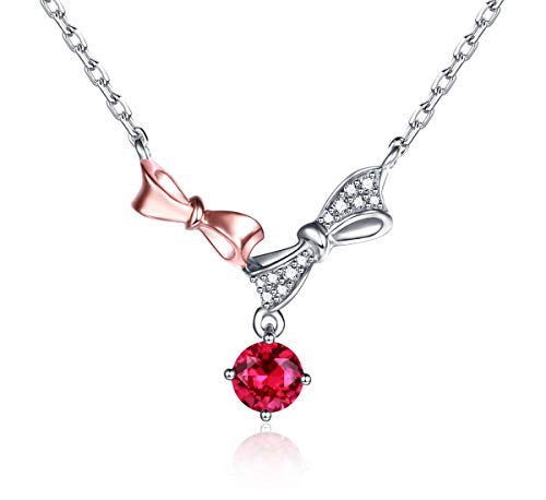 Women Sterling Silver Natural Ruby Bowknot Necklaces Pendants with CZ Jewelry