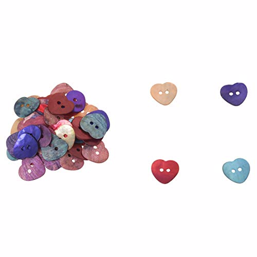 Buttons - 50 X 15 Mm Pearl Mussels Heart Buttons - White Pins Button Purple Small Resin Metal HeartPlastic Crafts Pink Buttons Large Bulk Black