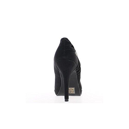 Escarpins noirs à talon de 11cm et plateforme de 2cm avec strass