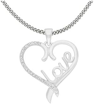 10K White Gold Heart Pendant for Girls Natural Diamond Heart Necklaces for Women – DGLA Certified Jewelry : 0.09 CTTW (IJ Color, SI Clarity)