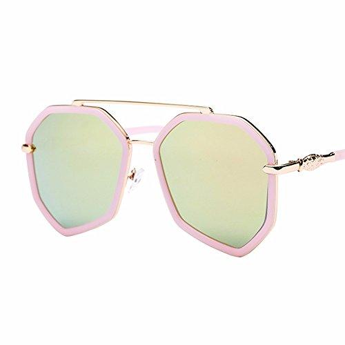 film sol gafas marea Las XIAOGEGE de big sol gafas box color polígono Rosa irregular negro chica elegante de gRqwAx