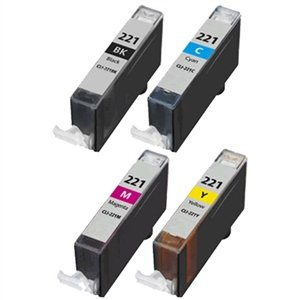 SuppliesOutlet Compatible Canon CLI-221 2946B004 Compatible Ink Cartridge Value Bundle - 4-Pack [Black, Cyan, Magenta, Yellow]