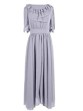 Anna-Kaci S/M Fit Grey Ruffle Bib Trim Billow Sleeve Knife Pleat Maxi Dress