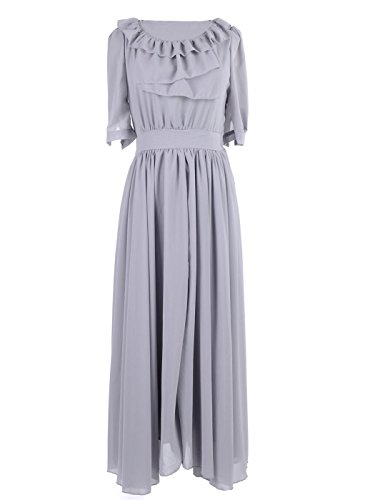 Sleeve Ruffle Bib (Anna-Kaci S/M Fit Grey Ruffle Bib Trim Billow Sleeve Knife Pleat Maxi Dress)