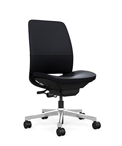 Steelcase Amia Task Chair: Black Frame/Polished Aluminum Base   Armless    Hard Floor