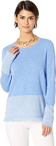 Lilly Pulitzer Women's Rica Cashmere Sweater Heathered Be Heathered Bennet Blue Color Block X-Large