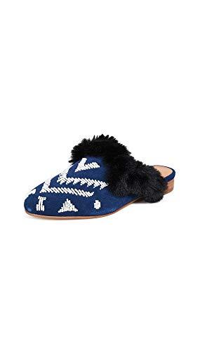 Soludos Women's Sedona Faux Fur Beaded Mules, Navy, Blue, Print, 7.5 M US