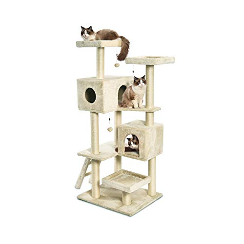 AmazonBasics Extra Large Cat Tree Tower With Dual Condo Cave - 28 x 65 x 24 Inches, Beige