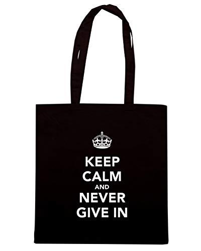 Speed GIVE Borsa Shirt Nera NEVER Shopper TKC2824 AND KEEP CALM IN q4faqwxn