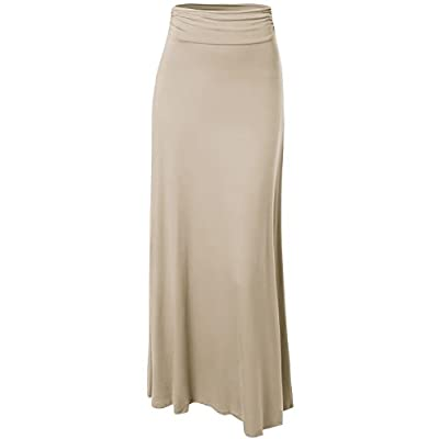 Cheap Made by Emma MBE Women's Fold Over Solid Maxi Skirt