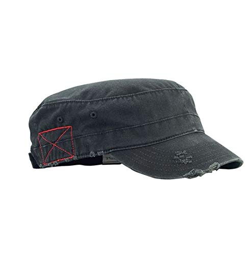 Prfcto Lifestyle Distressed Washed Cotton Cadet Army Cap - Cadet Hat (Black)