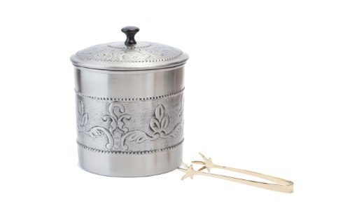 Old Dutch 416 3 Qt. Antique Embossed Victoria w/Brass Tongs Ice Bucket, Pewter