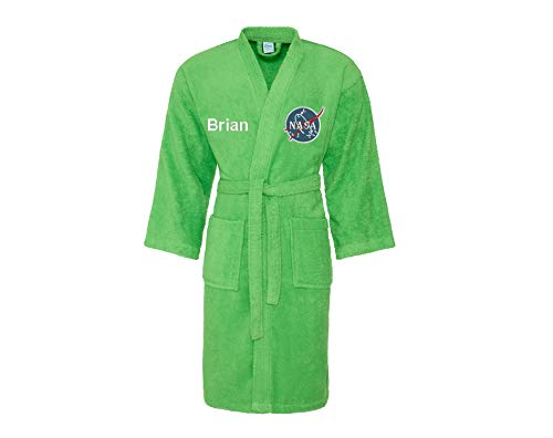 Logo Astronaut A Terry Embroidery Bathrobe Text On Custom With Green Box Lime Gift 51ZqZB