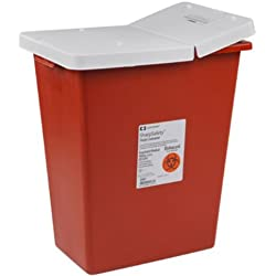 Covidien 8997 SharpSafety Sharps Container Gasketed Hinged Lid, 8 gal Capacity, Red (Pack of 10)