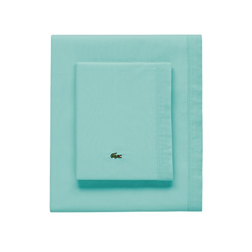 Lacoste 100% Cotton Percale Pillowcase Pair, Solid, Water Blue, Standard ()