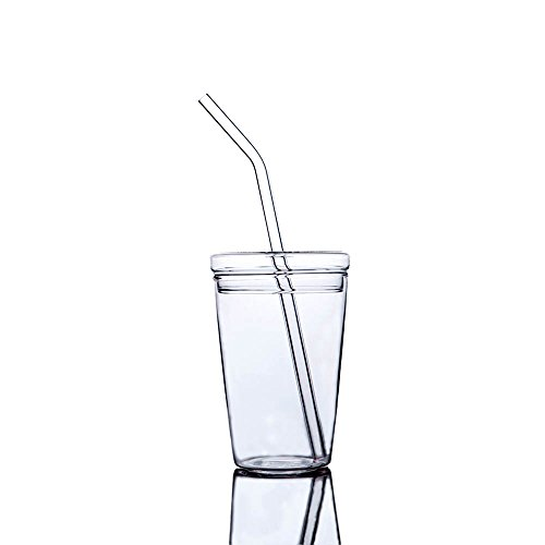 Mkono Juice Glass Beverage Glasses with Lid and Straw for Drinking, 12 oz