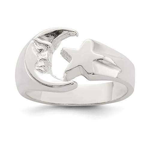 925 Sterling Silver Moon Star Band Ring Size
