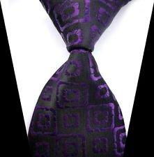 jacob alex #38587 Classic Necktie Black & Purple Plaid WOVEN JACQUARD Silk Men's Suits Tie (Victoria's Secret Halloween Makeup)