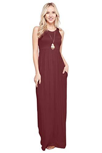 Maxi Dresses for Women Solid Lightweight Long Racerback Sleeveless W/Pocket -Burgundy (1X)
