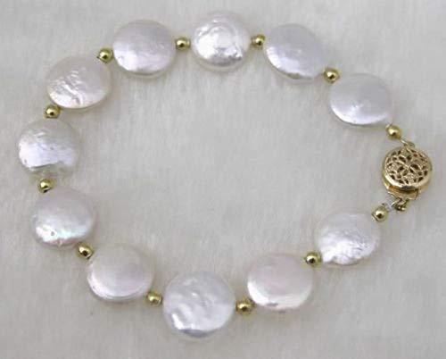 (FidgetFidget Fashion Handmade Natural White 11-12mm Coin Freshwater Pearl Bracelet 7.5