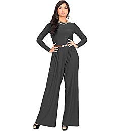 63c7ea3d3585 Amazon.com  KOH KOH Womens Long Sleeve Sleeves Wide Leg with Belt Formal  Elegant Cocktail Party Fall Pant Suit Pants Suits Jumpsuit Jumpsuits Romper  Rompers ...