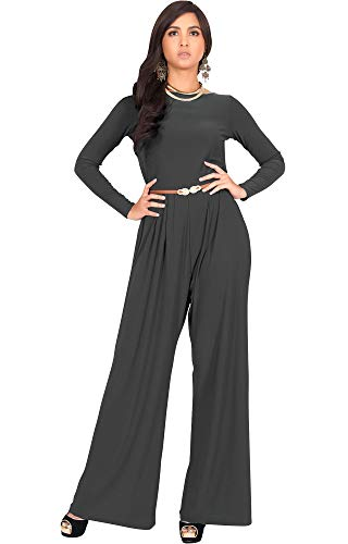 KOH KOH Womens Long Sleeve Sleeves Wide Leg with Belt Formal Elegant Cocktail Party Fall Pant Suit Pants Suits Jumpsuit Jumpsuits Romper Rompers, Dark Gray Grey M 8-10 ()