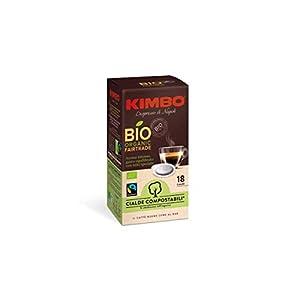 Kimbo Cialde Caffè Compostabili ESE Biologiche ed Equosolidali - 8 Pacchi da 18 Cialde (Totale 144 Cialde)
