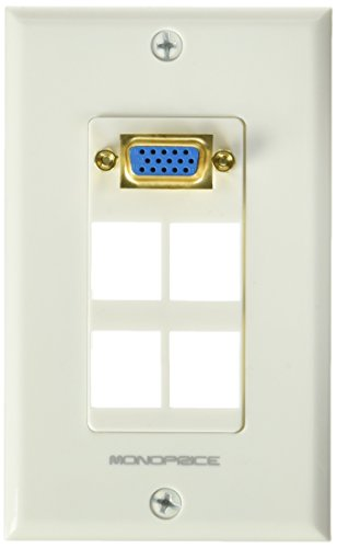 l Plate for Keystone 4 Hole with Built in VGA Coupler, Gold Plated (Wall Plate 15 Pin)