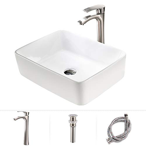 """TRIUN 19""""x15"""" Rectangular Above Counter White Porcelain Ceramic Bathroom Vessel Sink and Brushed Nickel Single Lever Faucet Matching Pop Up Drain Combo"""