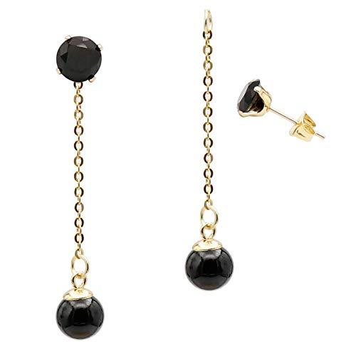 Fashion Black Pearl Ball Drop Dangle Earrings with Chain for Women Girl Hypoallergenic Cubic Zirconia Stud Earring Jacket Enhancers