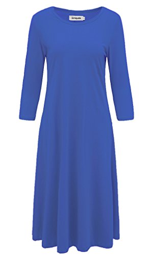 Emiqude Women's Casual A Line Flare Swing 3/4 Sleeve Midi Dress with Pocket Blue Medium