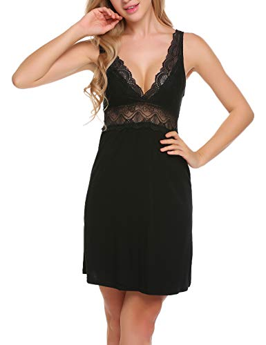 Ekouaer Sexy Cotton Nightgown Short Lace Chemise Sleepwear For ()