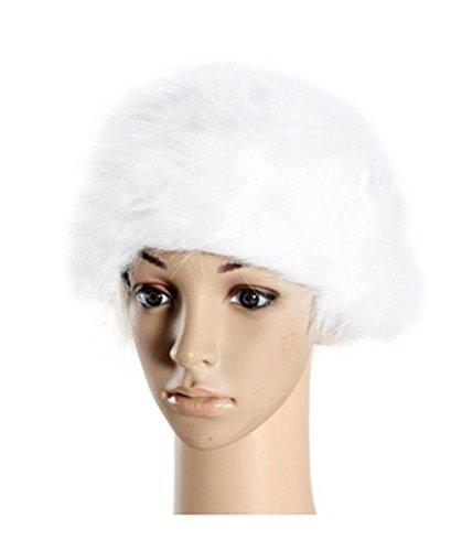 White Russian Fancy Dress Costume (Women/ladies Winter Hat Faux Fur Cossak Russian Style Hat (white))
