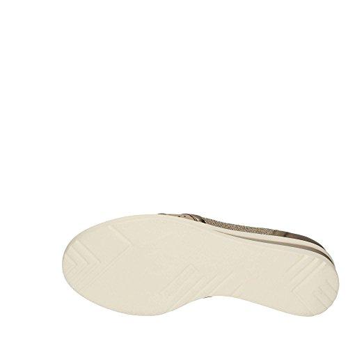 in Melluso tortora ALBA Italy Scarpa zeppa on pelle made donna R20109 slip platino PxpnRzxw