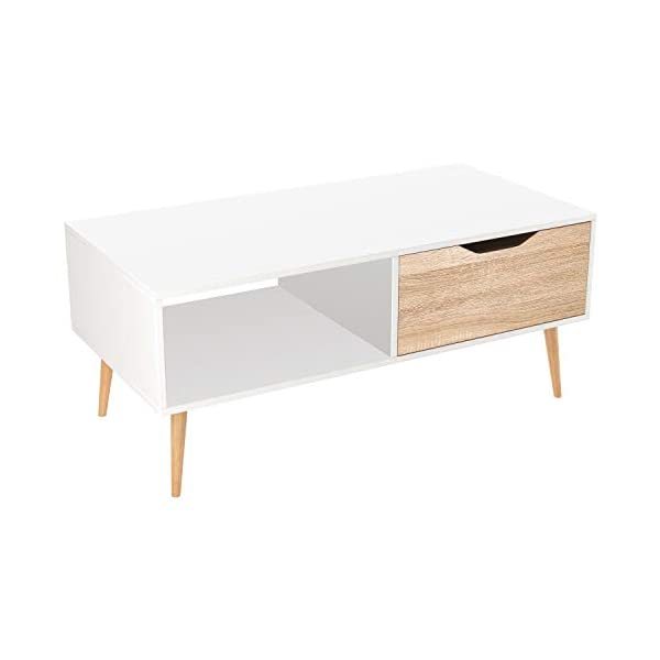 Homfa Table de Salon Scandinave Table Basse Café Bois pour Bureau TV 100×49.5x43cm (Blanc)
