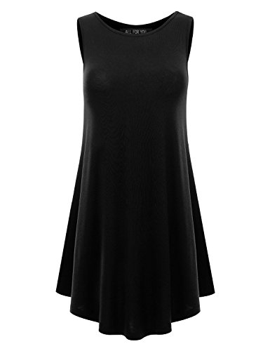 ALL FOR YOU Women's Sleeveless Round Hem Round-neck Tunic Top Black Large