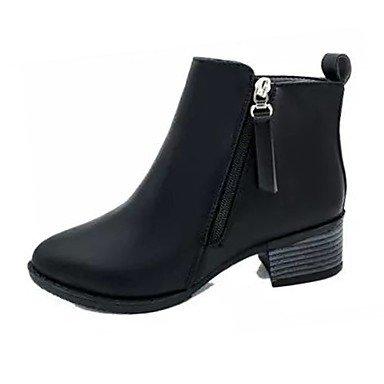 Boots RTRY Women'S Block Pu For US7 Boots Calf Pointed Heel 5 Shoes Burgundy Summer Zipper Black Dress Mid EU38 Toe UK5 Comfort CN38 5 X6XdWfrqx