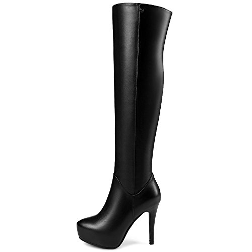 Platform Boots Toe Stiletto Seven High Heel Pointy Handmade Black Nine Knee Party Genuine Women's Leather n8aXXqO