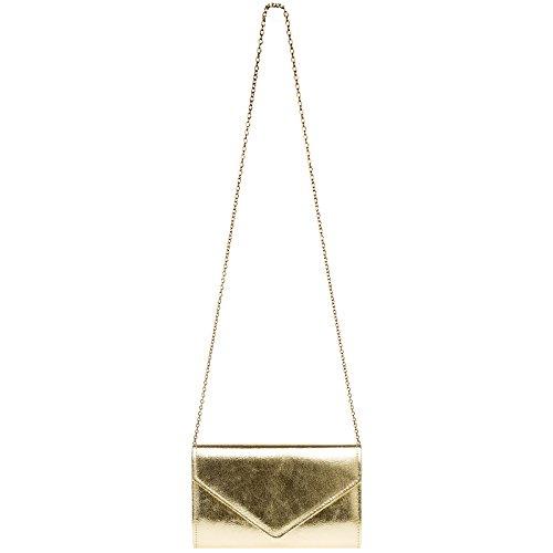 TA424 pour sac de soirée stylée femme métallique Pochette Doré CASPAR soirée en clutch de forme d'enveloppe dSqxd