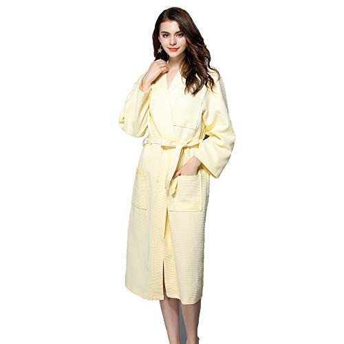 Forall-Ms Cotton Bathrobe for Women,Full Length Unisex Long Sleeve Lightweight Knit Men Bath Robe with Pockets Dressing Gown Housecoat Kimono Personality Girls Pajamas,Yellow-L]()