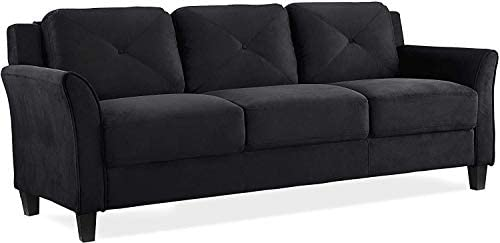 Modern Sofa Couch,Breathable Linen Fabric 74 inch 3-Seater Sofa with Durable Metal Legs and Comfort Armrest for Compact Living Room or Apartment, Light Brown