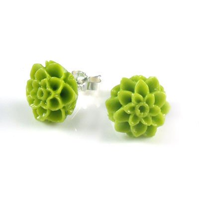 925 Sterling Silver Green Carved Coral Flower Chrysanthemum Stud Earrings Carved Red Coral Rose Pendant