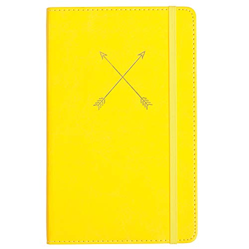 C.R. Gibson Yellow Leatherette Cross Arrows Journal Notebook for Girls, 5.25'' W x 8.25'' L, 240
