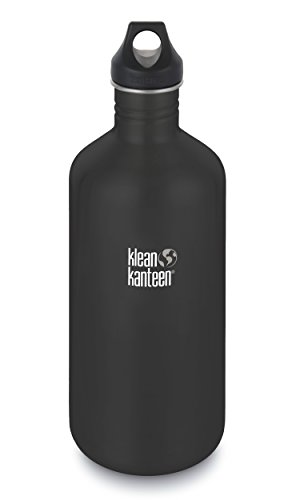 Klean Kanteen Classic Stainless Steel Single Wall Water Bottle with Klean Coat and Leak Proof Cap - 64oz - Shale Black
