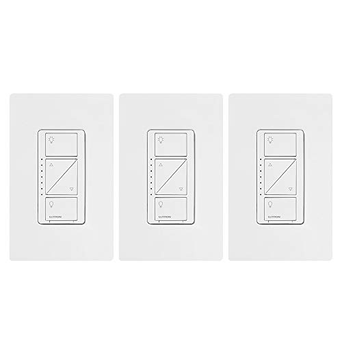 Lutron Caseta Smart Home Dimmer Switch (3 Count), Works with Alexa, Apple HomeKit, and the Google Assistant | for LED Light Bulbs, Incandescent Bulbs and Halogen Bulbs | PD-6WCL-WH-3-A | White