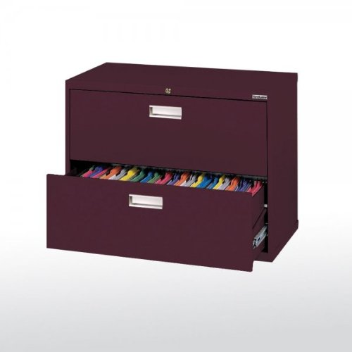 Sandusky Lee LF6A362-03 600 Series 2 Drawer Lateral File Cabinet, 19.25'' Depth x 28.375'' Height x 36'' Width, Burgundy by Sandusky