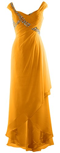 MACloth Elegant V Neck High Low Mother of Bride Dress Maxi Chiffon Formal Gown Amarillo