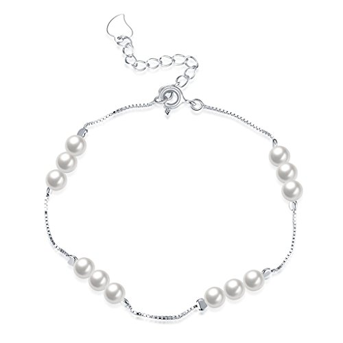 1 Light Eternity Pendant - HMILYDYK Women Charm Bracelet Sterling Silver Four Line White Freshwater Cultured Shell Pearls - AAA Quality